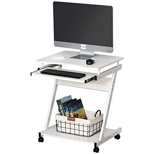 HOMCOM Tavolo Porta PC Classico e Salvaspazio, Piano Tastiera a Scomparsa, 4 Ruote e Ripiano Inferiore Bianco 60x48x73cm