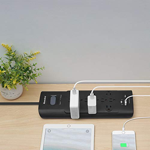 Huntkey Surge Protector Power Strip, 12 Outlets Extender with 3 USB Charging Ports 5V/3.1A, 6 Foot Extension Cord, 4000 Joules 3