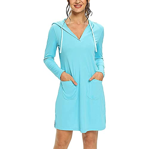 Womens Hooded UPF 50+ Sun Protection Moisture Wicking Swim Cover-Up Dress Outdoor Sun Protection Hiking Sunshirts Light Blue