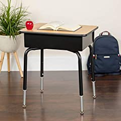 Whether your student is remote learning or in the classroom, give them the perfect place to complete their assignments with this open front desk. Books, writing utensils and other devices can be stored under the desktop for a neat, clean appearance. ...