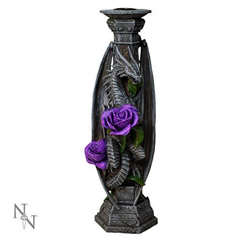 Nemesis Now Anne Stokes Kerzenhalter aus Kunstharz, 25 cm, Grau, Einheitsgröße