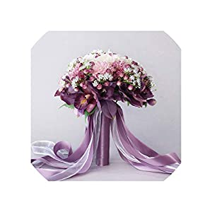 3Pc Set Silk Wedding Bouquet Photograph Bridal Bouquet Artificial Hydrangea Iris Rose Wedding Flowers with Berries