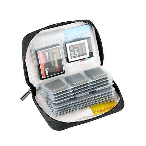 KIWIFOTOS Tragetasche für 24 x SD/SDHC/SDHC-Karten + 4 x CF (Compact Flash)/XQD-Karten, SD-Kartenhalter, Grau