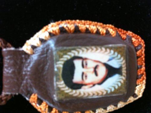 Jesus Malverde Leather Necklace Escapulario