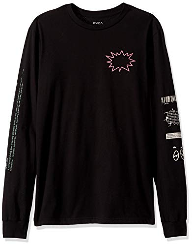 RVCA Men's TV Dinner Long Sleeve Crew Neck T-Shirt, Black, L