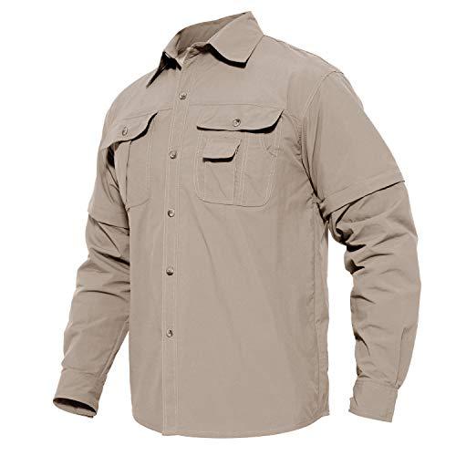 MAGCOMSEN Herren Langarmshirt US Army Shirt Outdoor Reise Hemd Sommer Schnelltrocknendes Hemd für Herren Safari Hemd Leicht Arbeitsshirt Armee Hemd Tropenhemd Khaki L