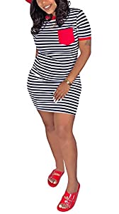Choichic Womens Bodycon Midi Dress - Sexy Colorful Short Sleeve Fitted Party Outfits from