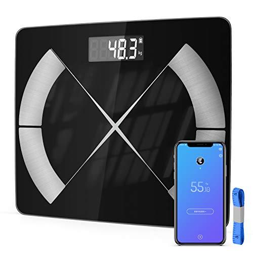 T-Buy Körperfettwaage,Smart Digitale Waage,Bluetooth Personenwaage für Körperfett,BMI,Gewicht,Muskelmasse,Wasser,Protein,Skelettmuskel,Knochengewicht,BMR