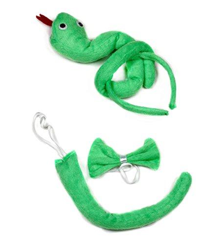 Vert serpent Bandeau Noeud Papillon Queue Costume 3pices pour enfants d'anniversaire ou fte - vert - Taille Unique