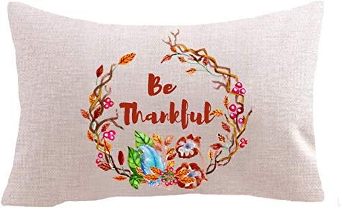 Best Blessing Geschenk Rote Nussfrucht Kranz Be thank ful Baumwolle Leinen Quadratisch Throw Taille Kissenbezug Kissenbezug Sofa Lendenwirbel 30,5 x 50,8 cm