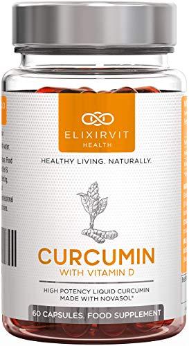 Elixirvit Curcumina líquida con vitamina D, 185 veces más biodisponible que la cúrcuma curcumina típica–Absorción inmediata–Potente curcumina NovaSOL, 60 cápsulas