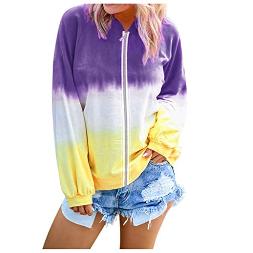 SamojoyHUE Sudadera de color degradado, para mujeres y niñas, con cuello redondo, cuello redondo, blusa de manga larga, Púrpura/Ombre Force., XXL