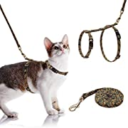 SCIROKKO Cat Harness with Leash Set - Escape Proof and Adjustable for Walking - Cute Fabric with Sunflower Pattern