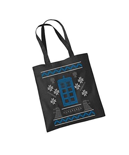 clothinx Einkaufstasche Wibbly Wobbly Christmas Schwarz