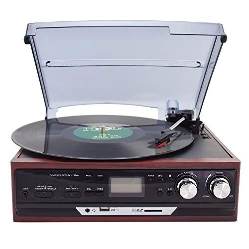 VSander Brown Modern Vinyl Schallplatte Alten Plattenspieler Antiken Grammophon Tonband Radio U Bluetooth Multifunktions-Multifunktions