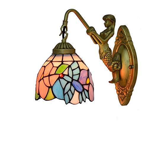 L-YINGZON Estilo de Tiffany Stained Glass Hummingbird Pantallas de iluminación, estilo británico lámpara de pared Y Modren sirena con base metálica, conveniente for Corredor dormitorio balcón Decoraci