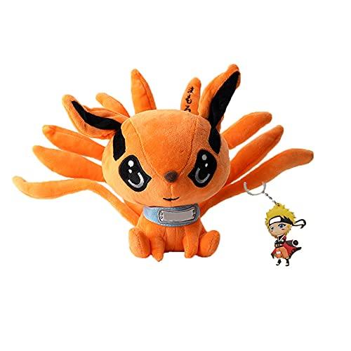 9.8in Anime Shippuden Kurama Plush Toys Kyuubi Doll Cute Fox Stuffed Plush Gift for Baby Kids(25cm, Orange)
