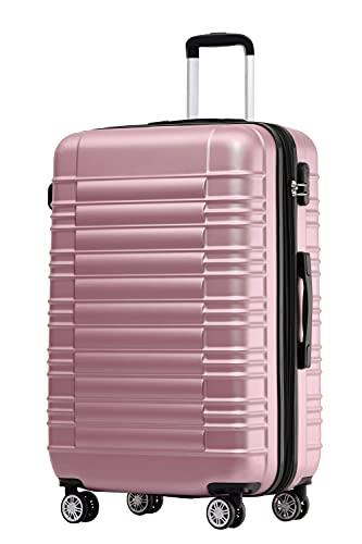 BEIBYE Zwillingsrollen Reisekoffer Koffer Trolleys Hartschale M-L-XL-Set (Rosa, M)