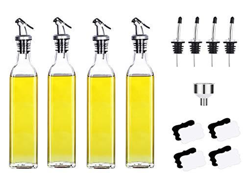 Savna - Dispensador de aceite y vinagre (4 botellas de aceite de oliva de 500 ml)