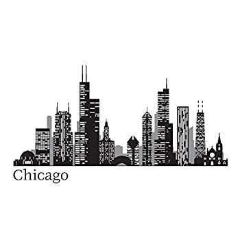 WallPops WPK2519 Chicago Cityscape Wall Decal Black