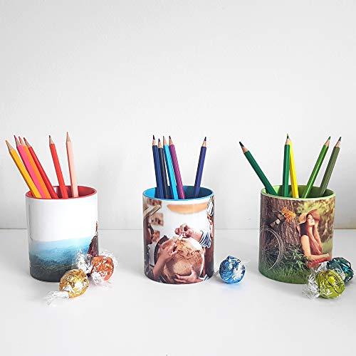 Getsingular Lapiceros/Vasos Personalizados con Tus Ver Fotos y Texto | Cerámica Interior de...