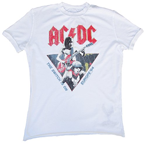 Amplified Herren T-Shirt Weiss White Official AC DC ACDC Europe 84 The Switch is One 1984 Tour Vintage XL 54