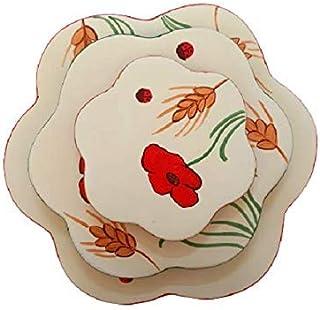 Sottopentola Ceramica con Fiori Colorato - Set da 3 Pezzi - Poggia Caffettiera - Le Ceramiche Del Re
