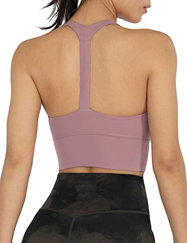 ODODOS Women's Y Racer Back Padded Sports Bra Fitness Workout Longline Yoga Bra Tops, Lavender, Medium