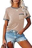 Camiseta De Manga Corta con Cuello Redondo Y Bolsillo De Verano para Mujer