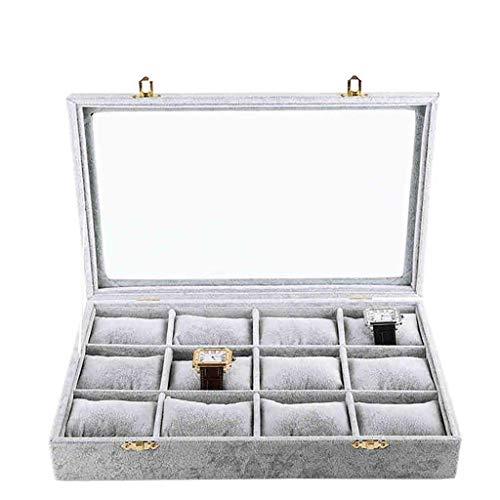 SMEJS Watch Box, Uhr-Kasten, Aufbewahrungsbehälter mit großen Compartments, Samt Futter, großes Geschenk