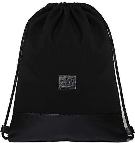 AW Stockholm Turnbeutel Lucas aus Canvas und veganem Leder - Stylischer Sportbeutel mit Zwei praktisch verschließbaren Taschen für Damen und Herren (schwarz)
