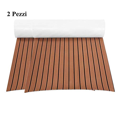 2pcs Eva-Schaum Deckbeschläge Marine Bodenbelag Rutschfester Teppich Eva Teak Decking Teppich für Boote Yacht, 240 x 90 x 0.6 cm