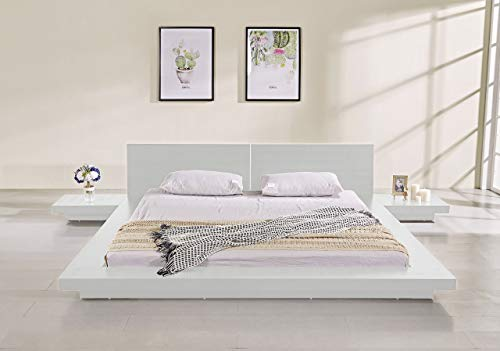 Best Bargain Matisse Fujian Modern Bed with 2 Nightstands Queen Size (Ash White)