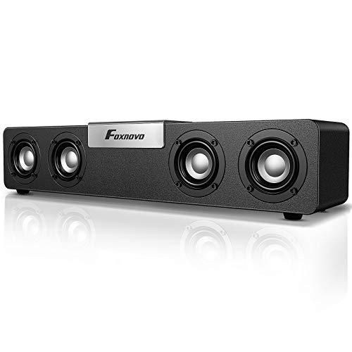 Foxnovo Bluetooth Computer Speakers Desktop: 20W Bass Boost PC Soundbar USB Powered Wired & Wireless Gaming Speakers Wooden Cavity Wireless Loud Speakers for Laptops|PC|Desktop|Monitors (Black Silver)