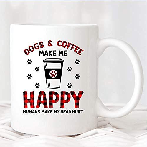 Taza té cerámica uso prolongado Los perros me hacen feliz Los humanos me duelen la cabeza Amante de los perros Amante de los perros Compañero de trabajo Taza bebida café Regalo