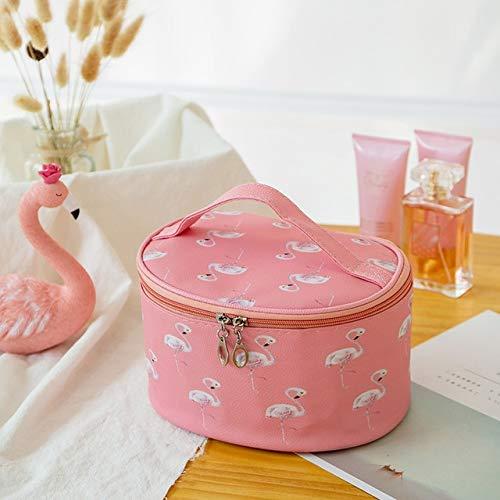 Femmes Flamingo Cosmetic Sac Étanche en Cuir Maquillage Cas Organisateur De Voyage Nécessaire Beauté Vanity Toiletry Wash Maquillage Box, Rouge