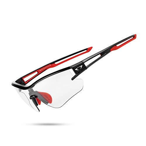 AALK Gafas de sol fotocromáticas deportivas polarizadas para hombres y mujeres MTB Ciclismo Gafas TR90 UV400 Protección Mountian Bike Seguridad Transición Glassess, negro/rojo,