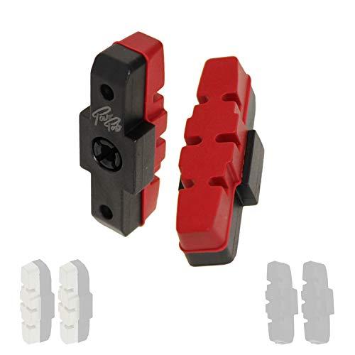 P4B | 1 Paar Hydraulik Power Pads für Magura in Rot - 50 mm | Geräuscharme Bremsbeläge für Magura Felgenbremse