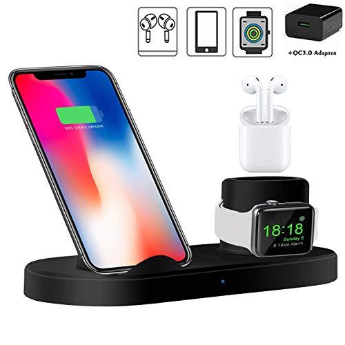 FGA Caricabatterie Senza Fili, 3 in 1 Stazione di Ricarica Wireless per Apple Watch/Airpods, Supporto di Ricarica Wireless per iPhone/Samsung