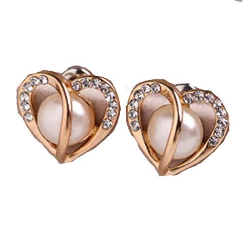 Pendientes de tuerca con corazón de diamante y perla, como se muestra, talla única
