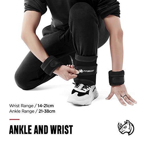 FitBeast Ankle Weights Straps, Adjustable Ankle Wrist Weights Set, 0.8Kg-1.8Kg for Per Ankle, 1.6Kg to 3.6Kg for a Pair, 2 Pack Adjustable Leg Weight for Running, Jogging, Walking, Gym - Men & Women