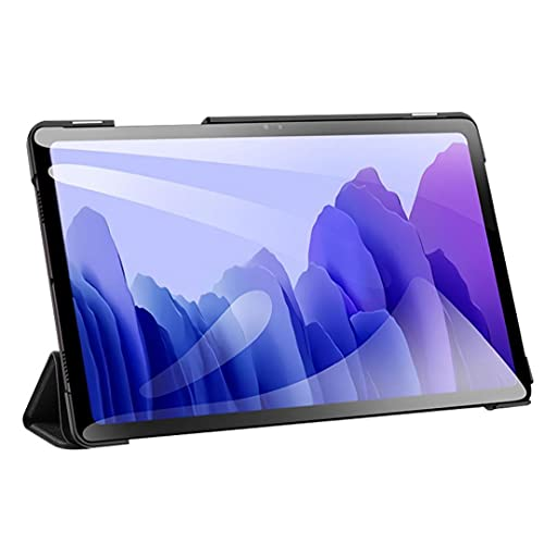 Rrunzfon Cubierta Elegante Compatible con Samsung Galaxy Tab 7 Un 10.4inch 2020 Cuero Delgado Trifold Soporte Negro Más Accesorios prácticos