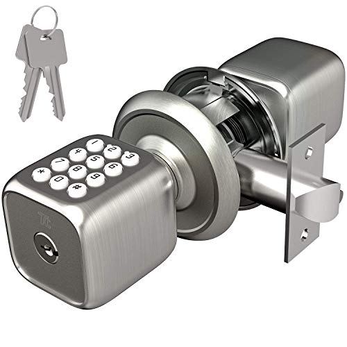 TURBOLOCK Multi-Function Electronic Door Knob with Lock and Key Plus Keyless Keypad - Featuring Disguised Passcode Entry (Model: TL-111) - Brush Nickel