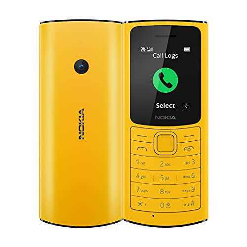 Nokia 110 4G with Volte HD Calls, Up to 32GB External Memory, FM Radio (Wired & Wireless Dual Mode), Games, Torch | Yellow