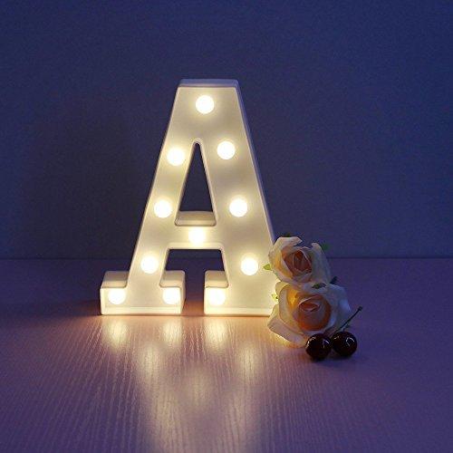 Mystery&Melody LED letra decorativa lámpara luz LED alfabeto blanco sólido letras para fiesta boda decoración luz (A)
