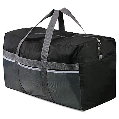 REDCAMP Foldable Travel Bag, 96L Extra Large Sports Bag, Packable Duffle Bag, Lightweight Waterproof Duffel Holdall Bag, Black