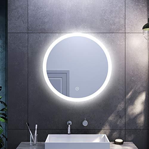 SONNI Espejo Redondo de Baño 70x70cm,Espejo Pared Antinieble con Interruptor Táctil,Espejo de baño con Diseño Moderno Ideal para Baño Dormitorio