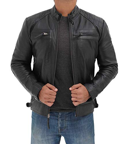 Decrum Black Mens Lambskin Leather Jacket | [1100092] Diamond 1 Black, S