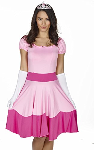 Mario Princess Peach Dress Costume for Women. Five sizes from 6 to 18. Also ideal as funny stag do outfit!