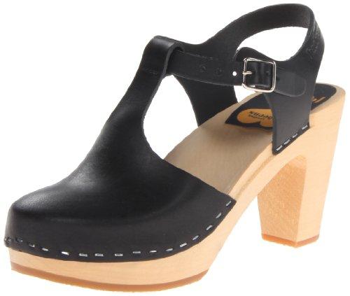 swedish hasbeens Women's T-Strap Sky High Heeled Sandal, Black, 39 EU/9 M US